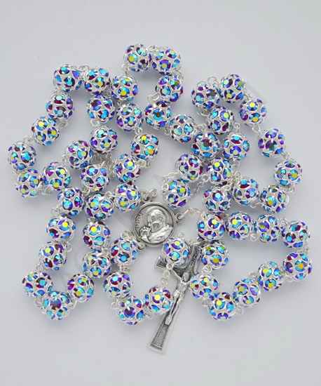 Swarovski Crystal Rosary iridescent red