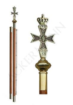 Flag pole with brass church ornament Maltese cross