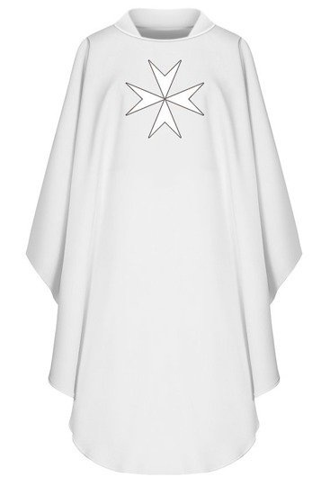 White Gothic Chasuble Maltese Cross model 780