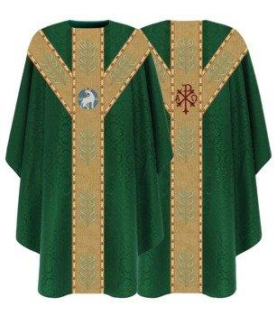 Green Semi Gothic Chasuble Lamb model 791